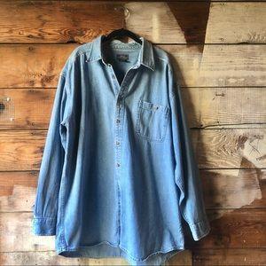 Vintage 80s 90s Denim Shirt Medium Wash Size 2XL